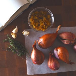 Cider-Braised Shallots w/ Golden Raisins and Thyme