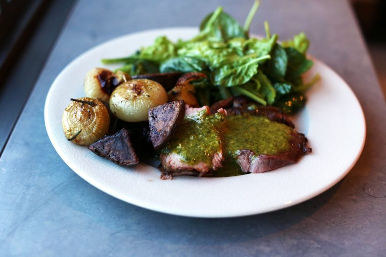 Lamb with Mint Chimichurri and Herb Roasted Potatoes