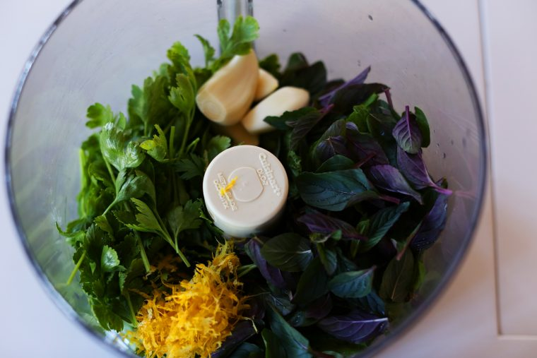 Mint Chimichurri Ingredients - mint, parsley, garlic, lemon, red pepper flakes, and olive oil