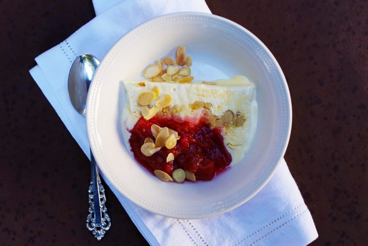Almond Semifreddo & Strawberry Rhubarb Compote