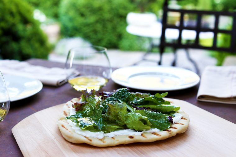 Grilled Lemon Ricotta Flatbread w/ Garden Greens