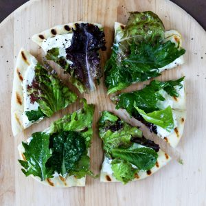 Grilled Lemon Ricotta & Garden Greens Pizza