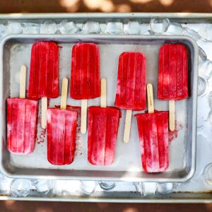 Strawberry & Basil Yogurt Popsicles