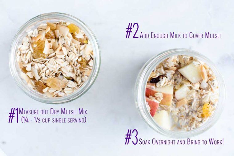 Toasted Coconut Muesli Overnight Oats - soak muesli overnight for a delicious, healthy and satisfying breakfast ready to bring to work.