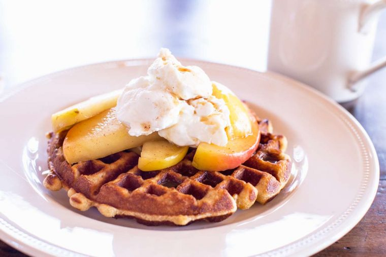 Belgian Waffles with Caramelized Apples and Maple Yogurt