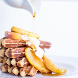 Belgian Waffles with Caramelized Apples & Maple Yogurt