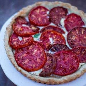 Tomato Tart w/ Goat Cheese and a Polenta Crust