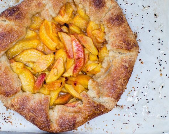 Summer Peach Galette w/ a Buttery Cornmeal Crust