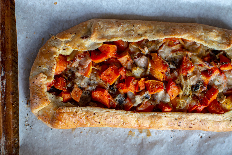 Caramelized Onion Butternut Squash Tart