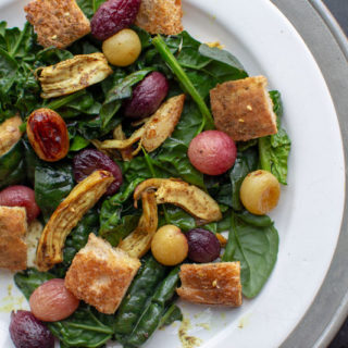 Leftover Chicken Curry Salad with Roasted Grapes and Za'atar Croutons